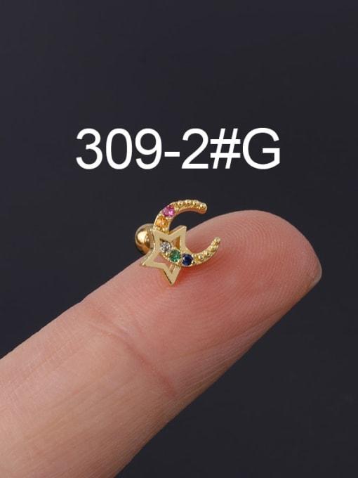 2 Gold Single Brass Cubic Zirconia Geometric Hip Hop Chandelier Earring