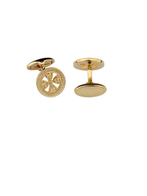 golden Brass Hollow Clover Vintage Cuff Link