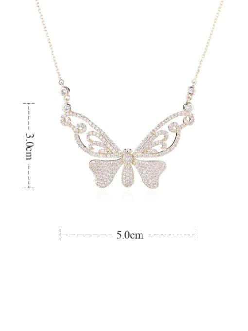 YILLIN Brass Cubic Zirconia Butterfly Minimalist Necklace 3