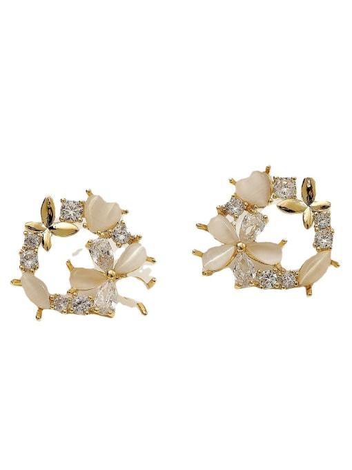 HYACINTH Brass Cats Eye Flower Cute Stud Earring