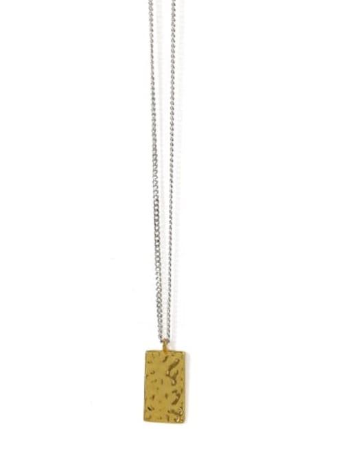 rectangle Brass Geometric Vintage Necklace