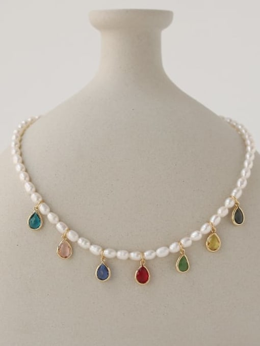TINGS Brass Freshwater Pearl Water Drop Minimalist Necklace 3