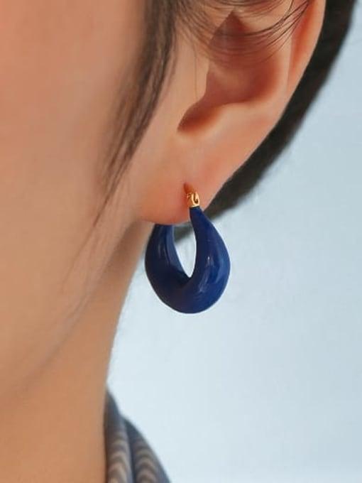Five Color Brass Enamel single Geometric Minimalist Huggie Earring 1