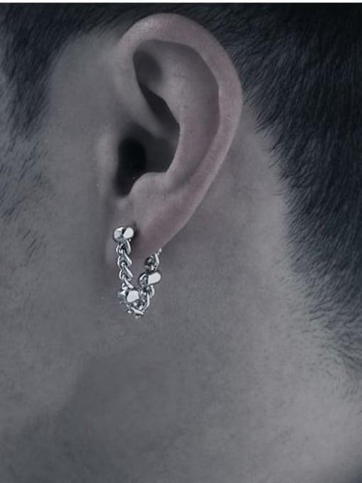 TINGS Brass Hollow  Geometric    Chain  Hip Hop Single Earring 1