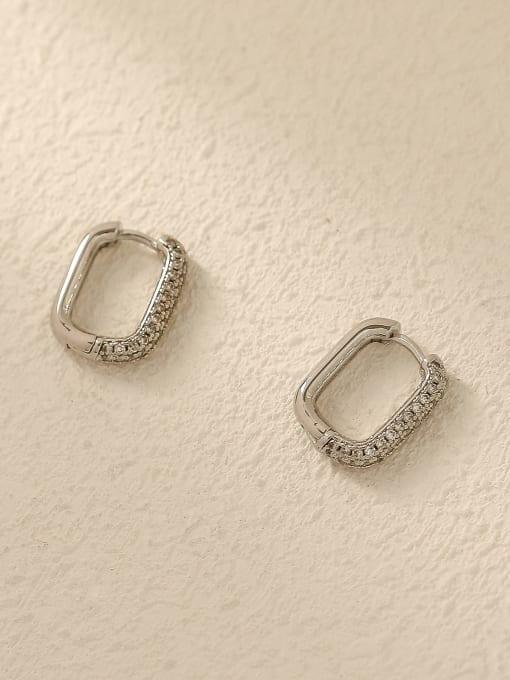 HYACINTH Brass Cubic Zirconia Geometric Vintage Huggie Trend Korean Fashion Earring 2