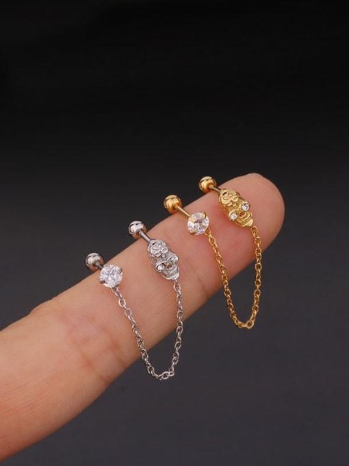 HISON Brass with Cubic Zirconia White Tassel Minimalist Stud Earring 2