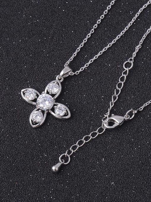 YILLIN Brass Cubic Zirconia Hollow Cross Minimalist Necklace 1