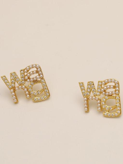 HYACINTH Brass Cubic Zirconia Geometric Ethnic Stud Earring 3