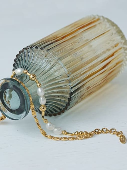 ACCA Brass Imitation Pearl Geometric Hip Hop Strand Bracelet 3
