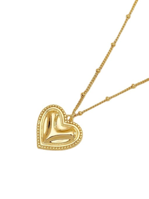 HYACINTH Brass Smooth Heart Vintage  Pendant Necklace