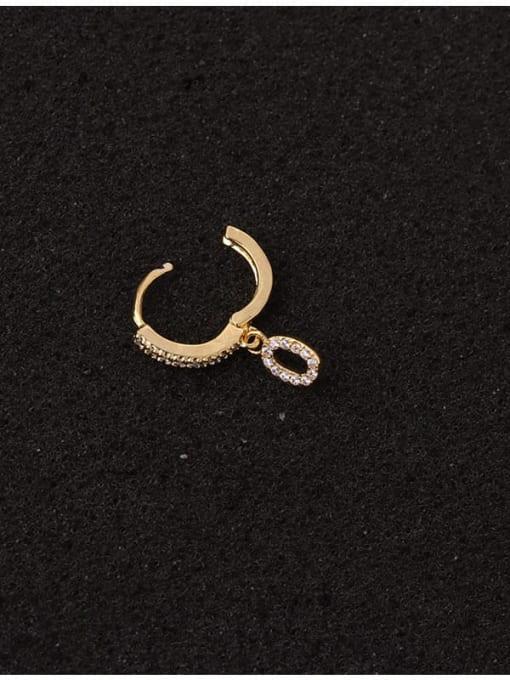 HISON Brass Cubic Zirconia Number Hip Hop Huggie Earring 4