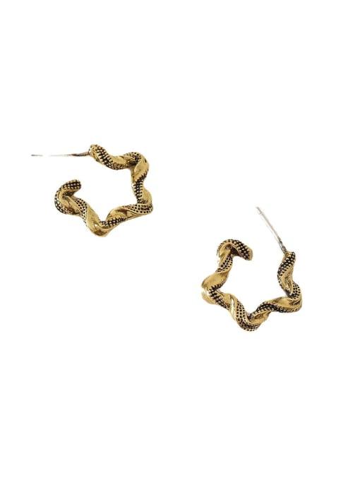 HYACINTH Brass Hollow Geometric Vintage Hoop Earring 0