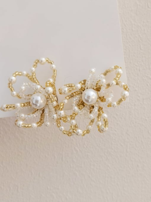 HYACINTH Brass Imitation Pearl Flower Statement Stud Earring