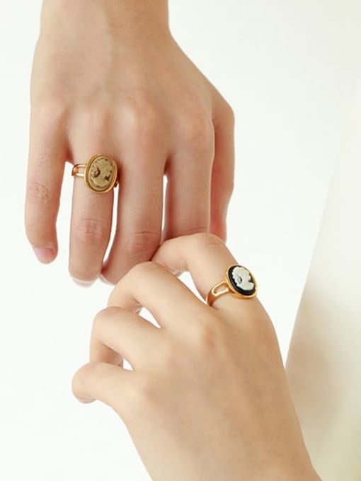Five Color Brass Resin Geometric Vintage Band Ring 1
