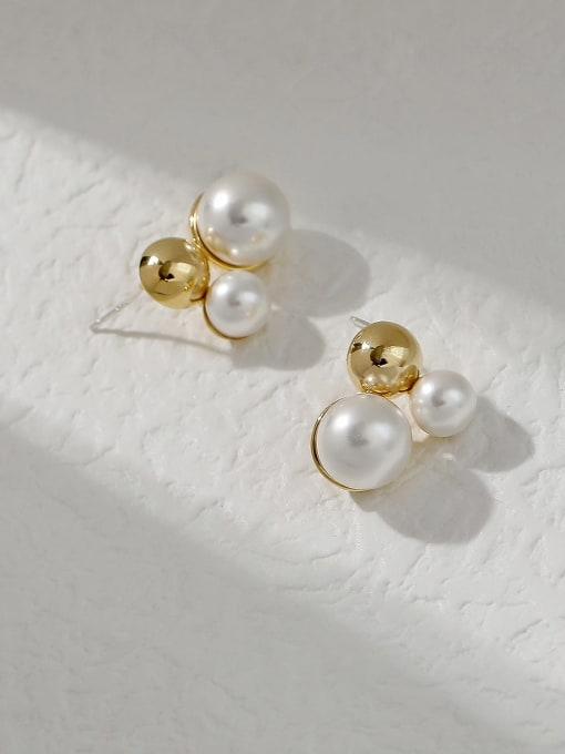 HYACINTH Brass Imitation Pearl Irregular Vintage Stud Trend Korean Fashion Earring 3