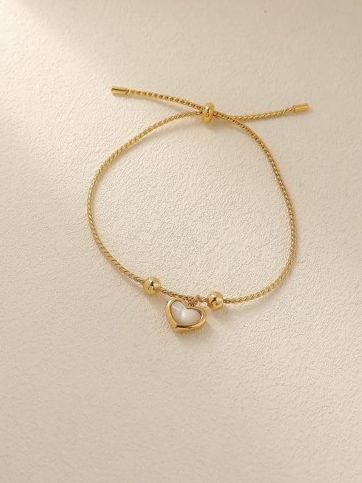 HYACINTH Brass Shell Heart Minimalist Adjustable Bracelet 3