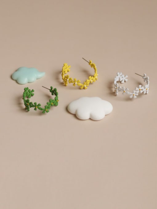 Five Color Alloy Enamel Flower Ethnic Huggie Earring