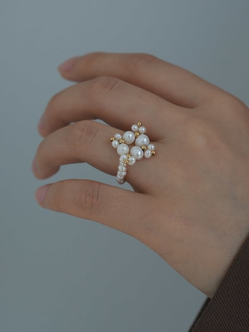Five Color Brass Imitation Pearl Geometric Minimalist Band Ring 1