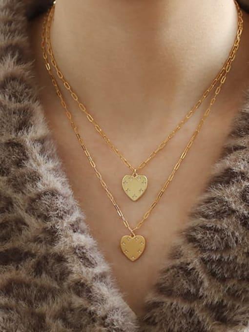 ACCA Brass Rhinestone Heart Minimalist pendant Necklace 1
