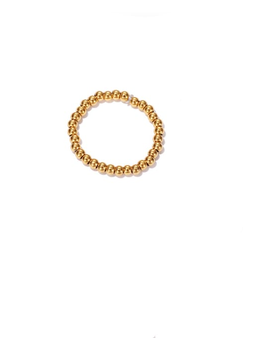 golden Brass Bead Round Minimalist Band Ring