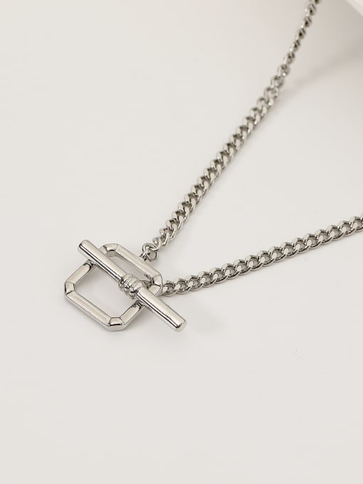 White K Brass Hollow Geometric Minimalist Necklace