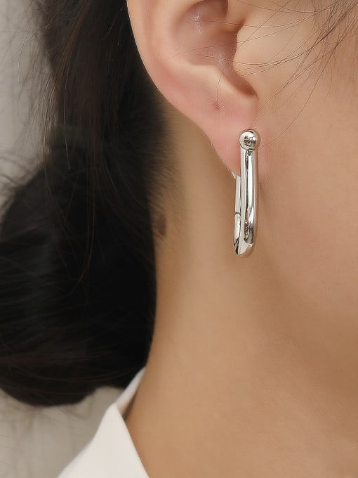 HYACINTH Brass Smooth Geometric Minimalist Huggie Trend Korean Fashion Earring 1