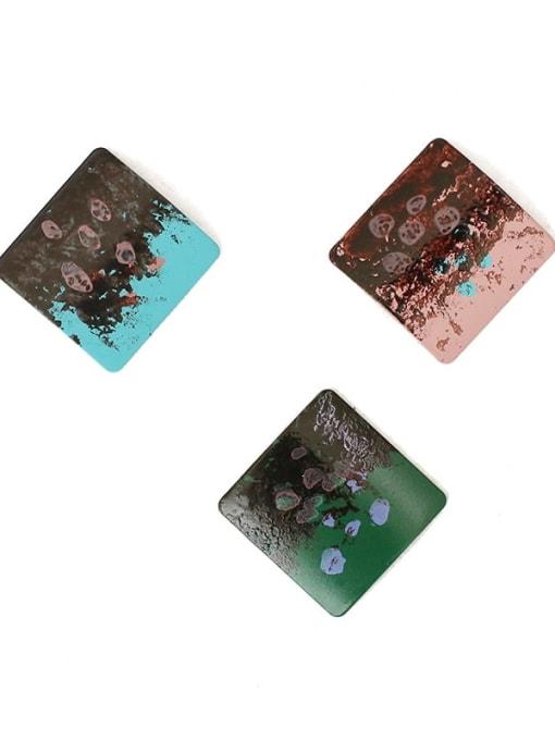 Five Color Alloy Enamel Geometric Hip Hop Stud Earring 0