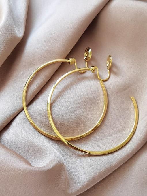 HYACINTH Brass Hollow Round Minimalist Hoop Earring 1
