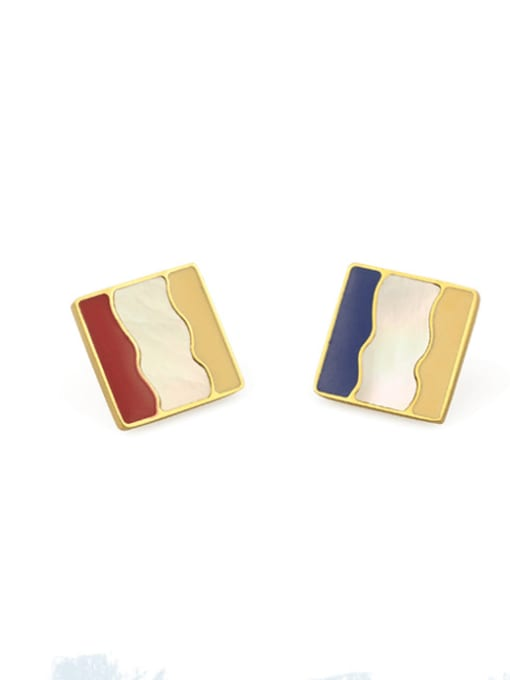 Blue Earrings Alloy Enamel Geometric Vintage Stud Earring