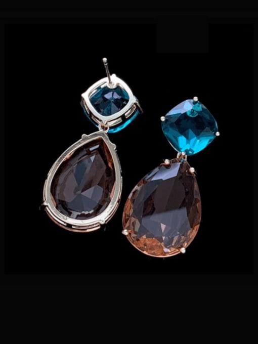 SUUTO Brass Glass Stone Water Drop Luxury Drop Earring 1