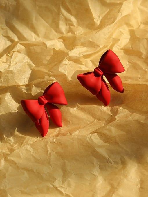 gules Brass Enamel Bowknot Vintage Stud Earring