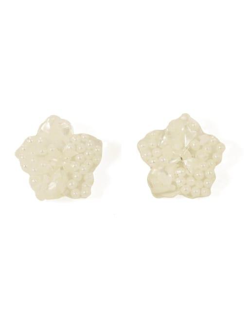 White Pearl earclip Alloy Enamel Flower Cute Stud Earring