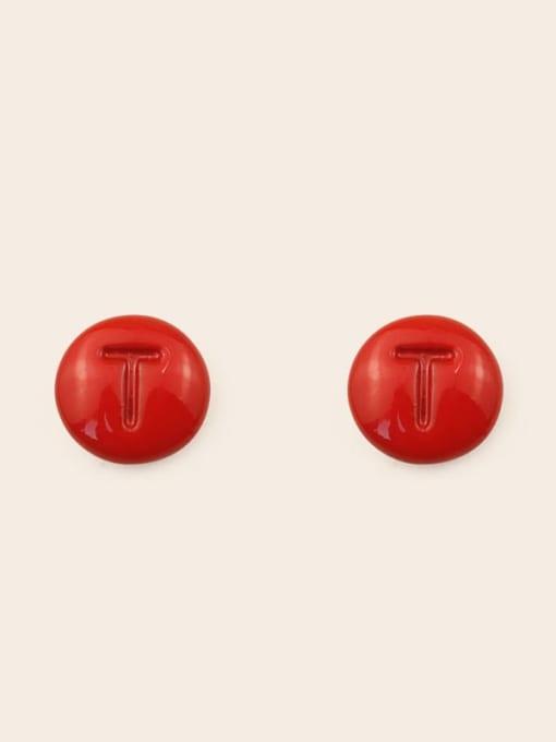 T Alloy Enamel Letter Minimalist Stud Earring