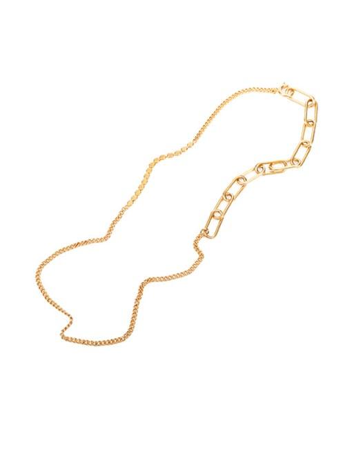 Five Color Brass Geometric Hip Hop Necklace 0