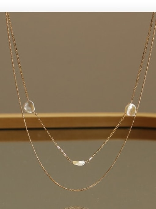 ACCA Brass Freshwater Pearl Geometric Minimalist Necklace 3