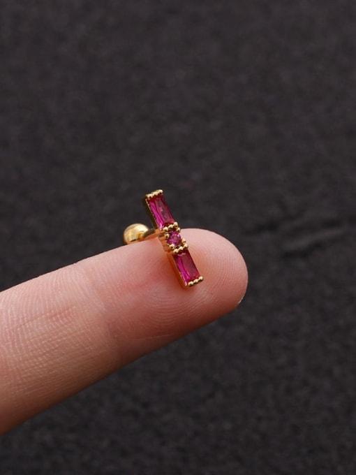 Gold 1#(Single) Brass Cubic Zirconia Geometric Minimalist Stud Earring
