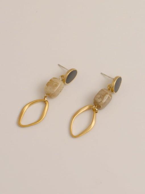 grey Brass Enamel Geometric Vintage Drop Earring