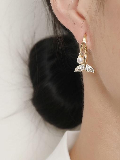 HYACINTH Brass Cubic Zirconia Fish Trend Drop Trend Korean Fashion Earring 1
