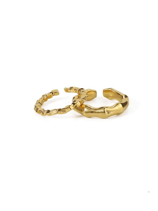 Five Color Brass Geometric Hip Hop Band Ring 0