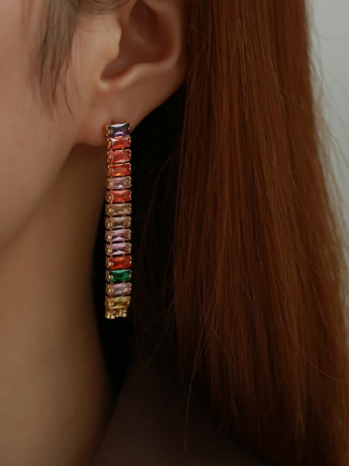 Five Color Brass Cubic Zirconia Rainbow Minimalist Drop Earring 2
