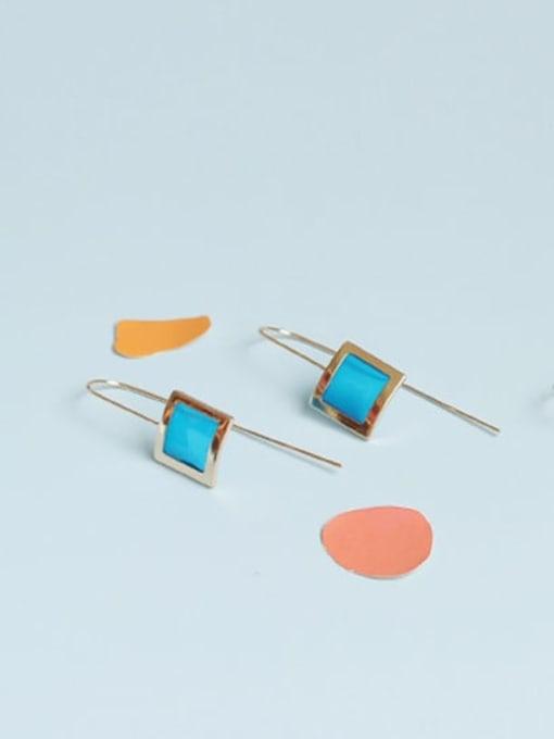 Five Color Alloy Enamel Geometric Vintage Hook Earring