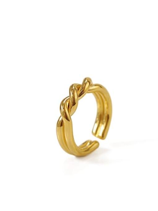 golden Brass Irregular Vintage Twist Midi Ring