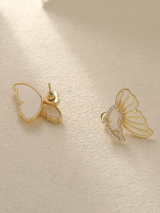 HYACINTH Brass Shell Butterfly Cute Stud Trend Korean Fashion Earring 2