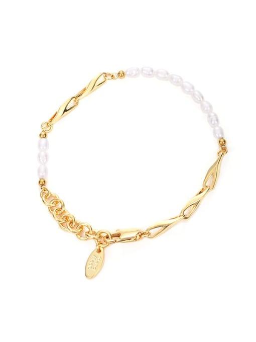 Five Color Brass Imitation Pearl Geometric Hip Hop Link Bracelet 3
