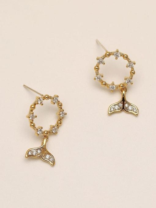 HYACINTH Brass Cubic Zirconia Fish Vintage Stud Earring