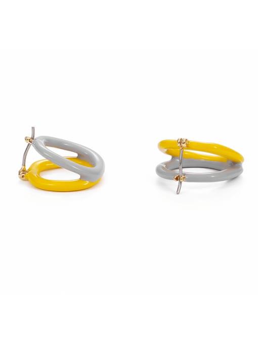 Five Color Brass Enamel Geometric Minimalist Stud Earring 0