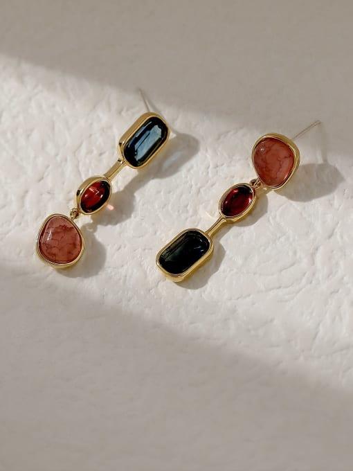 HYACINTH Brass Glass Stone Geometric Vintage Drop Trend Korean Fashion Earring 0