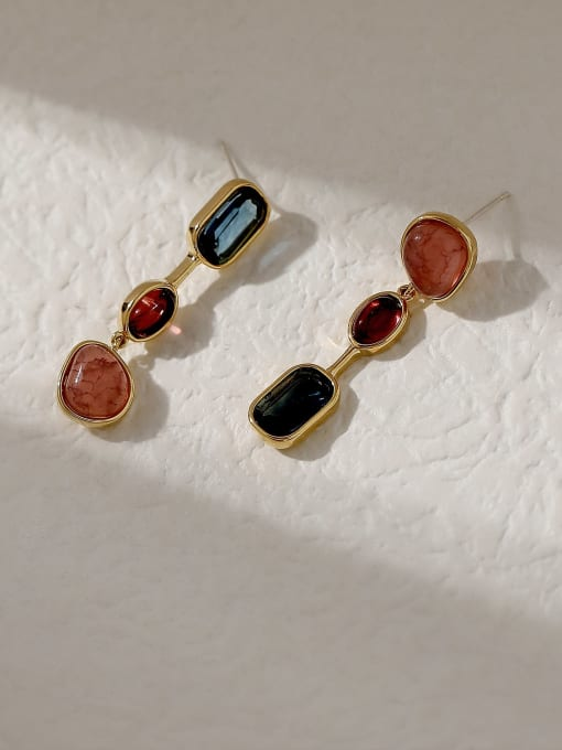 HYACINTH Brass Glass Stone Geometric Vintage Drop Trend Korean Fashion Earring