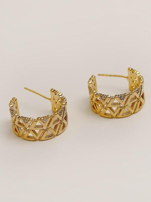 14k Gold Brass Rhinestone  Hip Hop Hollow C-shaped  Stud Earring