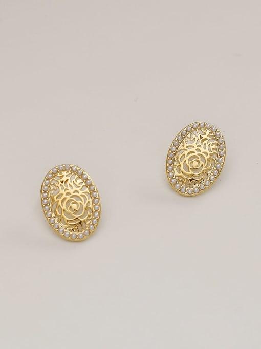 HYACINTH Brass Imitation Pearl Flower Minimalist Stud Earring 3